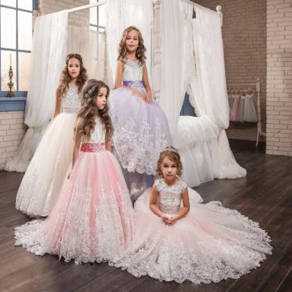 Girls Ball Gown Lace Pageant Dresse..