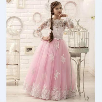 2020 Hot Pink Floor Length Flower G..