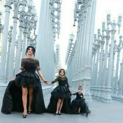 Black Ball Gown Long Sleeves Kids E..