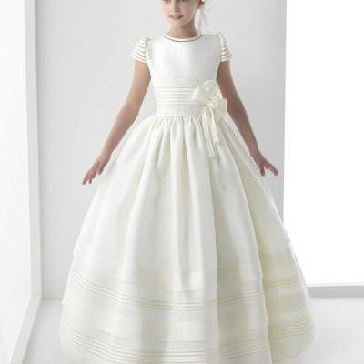2017 Real photo Cute Flower Girls Dresses For Weddings New Cap Sleeve Bow Lace First Communion Dress For Girls Custom Made