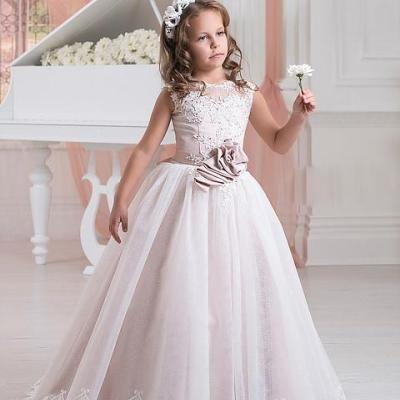 2017 New Lace Flower Girl Dresses For Weddings Appliques Kids Pageant Gowns Tulle Beaded Party Communion Dress With Sash