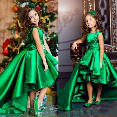 New Arrival Emerald Green Girls Pageant Dresses High Low Princess Flower Girls Dresses For Weddings Lovely Kids Communion Dress