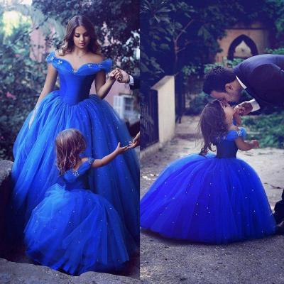 Royal Blue Princess Wedding Flower Girl Dresses Puffy Tutu Sparkly Crystals Toddler Little Girls Pageant Communion Dress