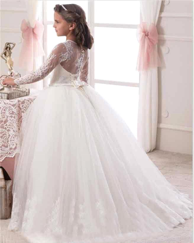 2017 Hot Sale Long Sleeve Flower Girl Dresses For Weddings Lace First  Communion Dresses For Girls Pa on Luulla c38192720ae1