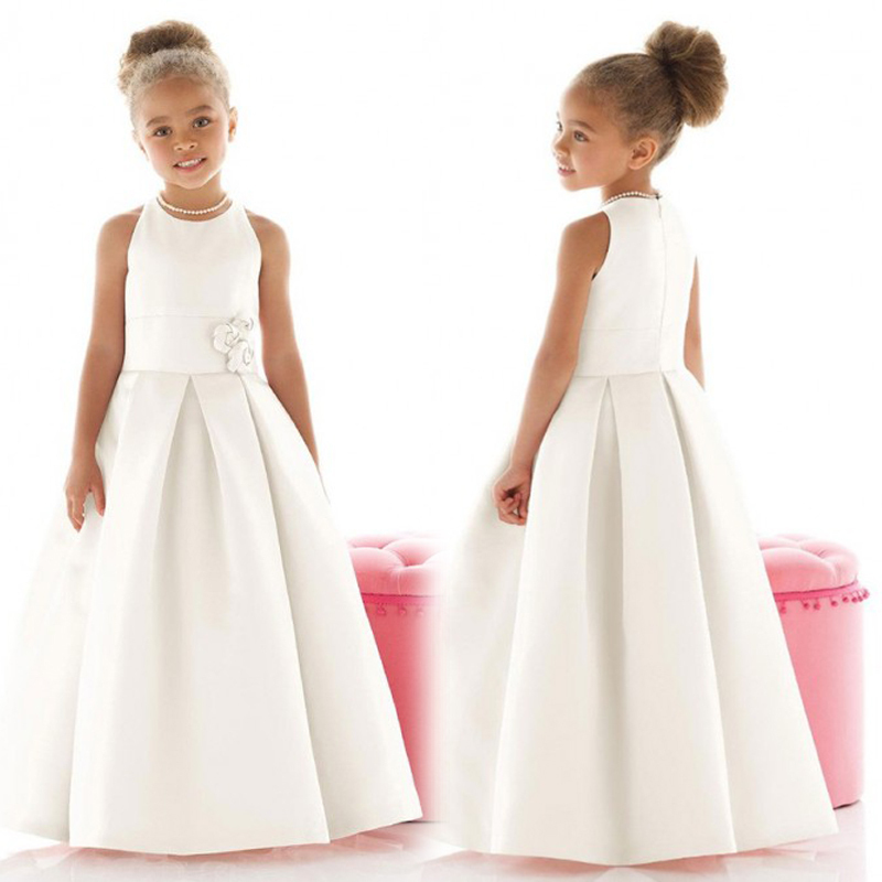 3bcf0e5689 2017 White Elegant Flower Girl Dresses First Communion Dresses For Girls  Ruched Floor Length Dress Vestido De Daminha