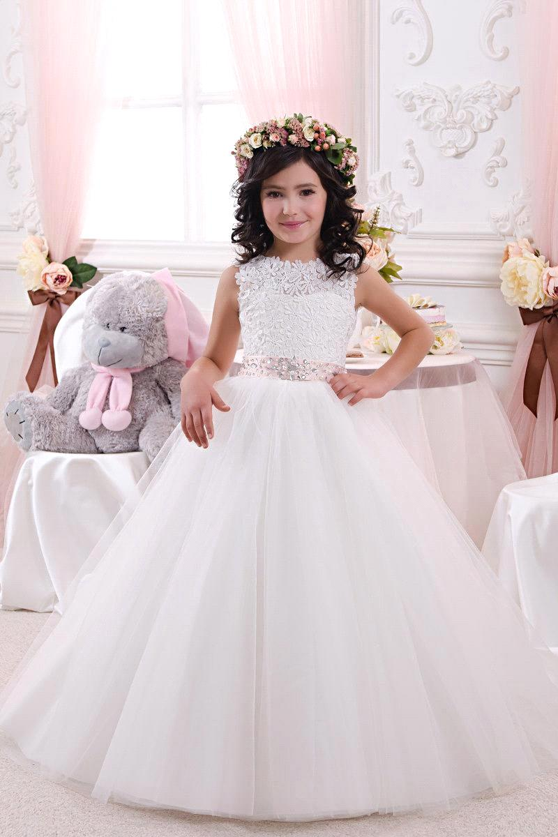 2017 Lace Bow Girls Pageant Dresses First Communion Dresses