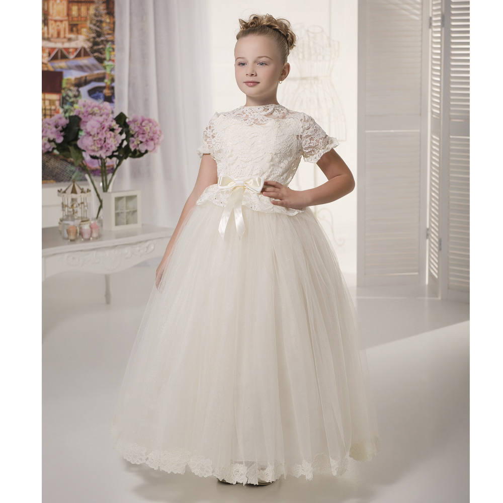2017 Pretty Whiteivory Lace Flower Girls Dresses With Sleeves Kids