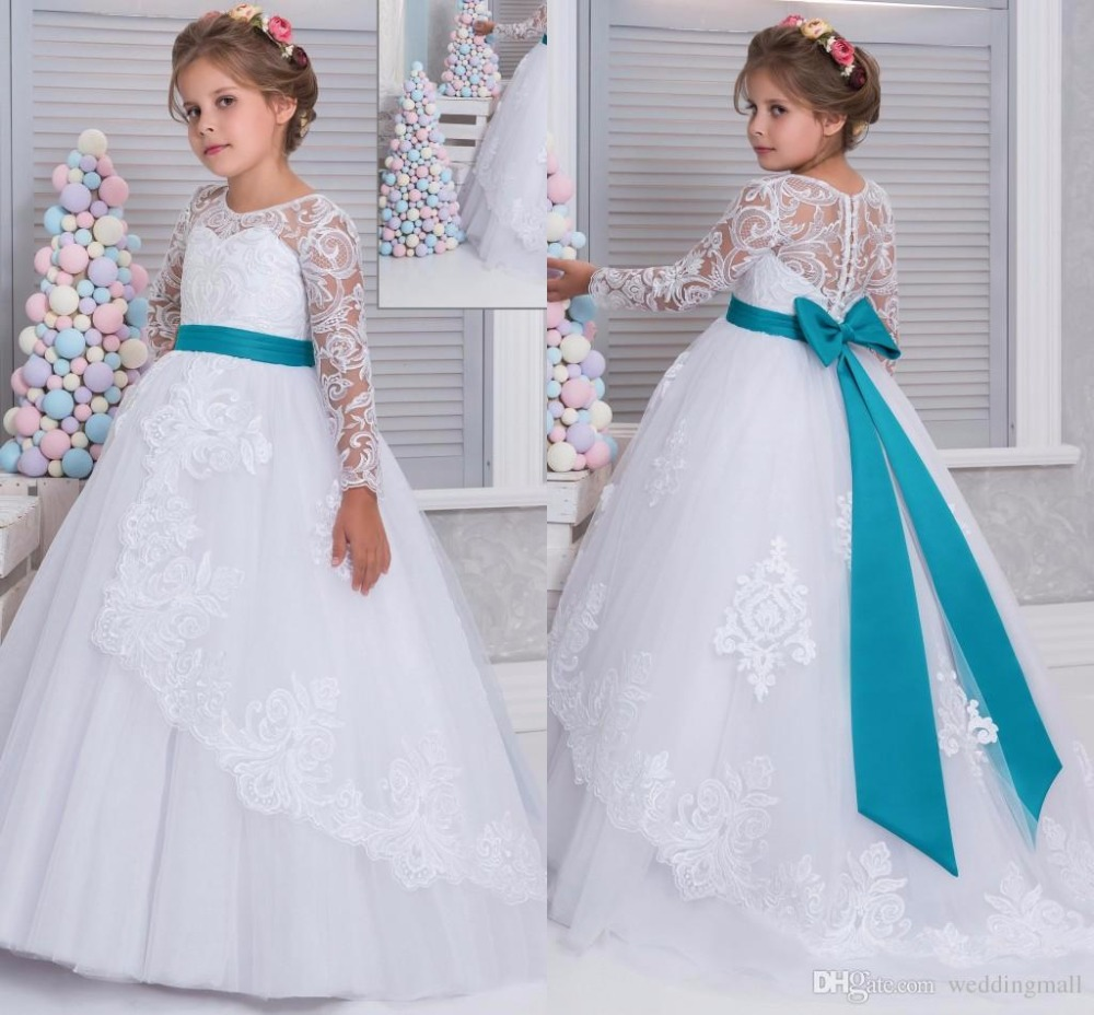 2fa917bb7ad 2017 Lace Arabic White Blue Long Sleeve Flower Girl Dresses for Weddings  Ball Gown Girls Pageant Gown First Communion Dress