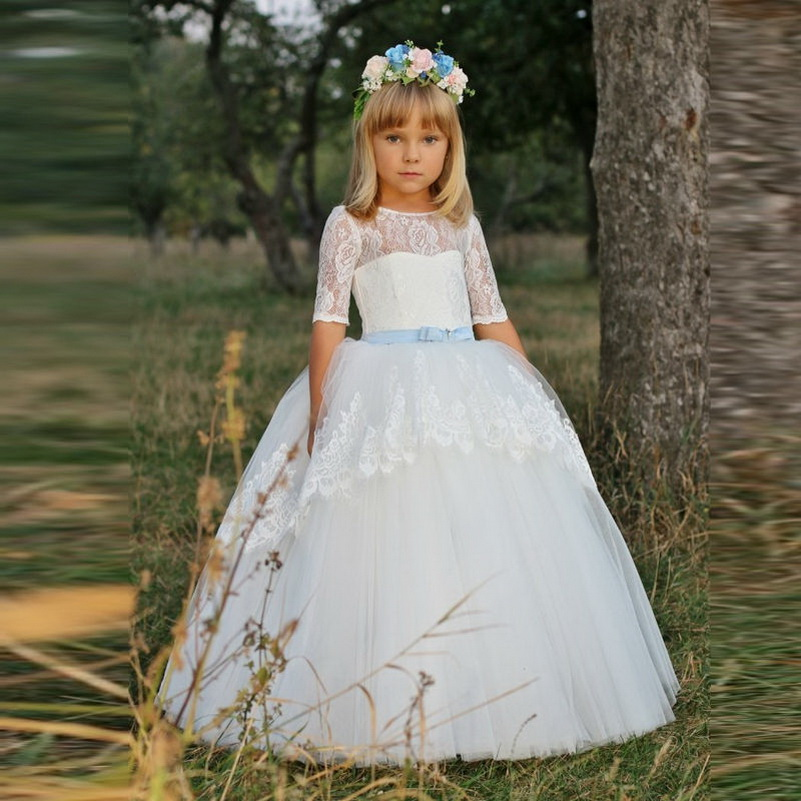 c6edde8f2 Lace Flower Girl Dresses Tulle Ball Gown first communion dresses for girls  Formal Occasion Pageant Gowns Custom Made