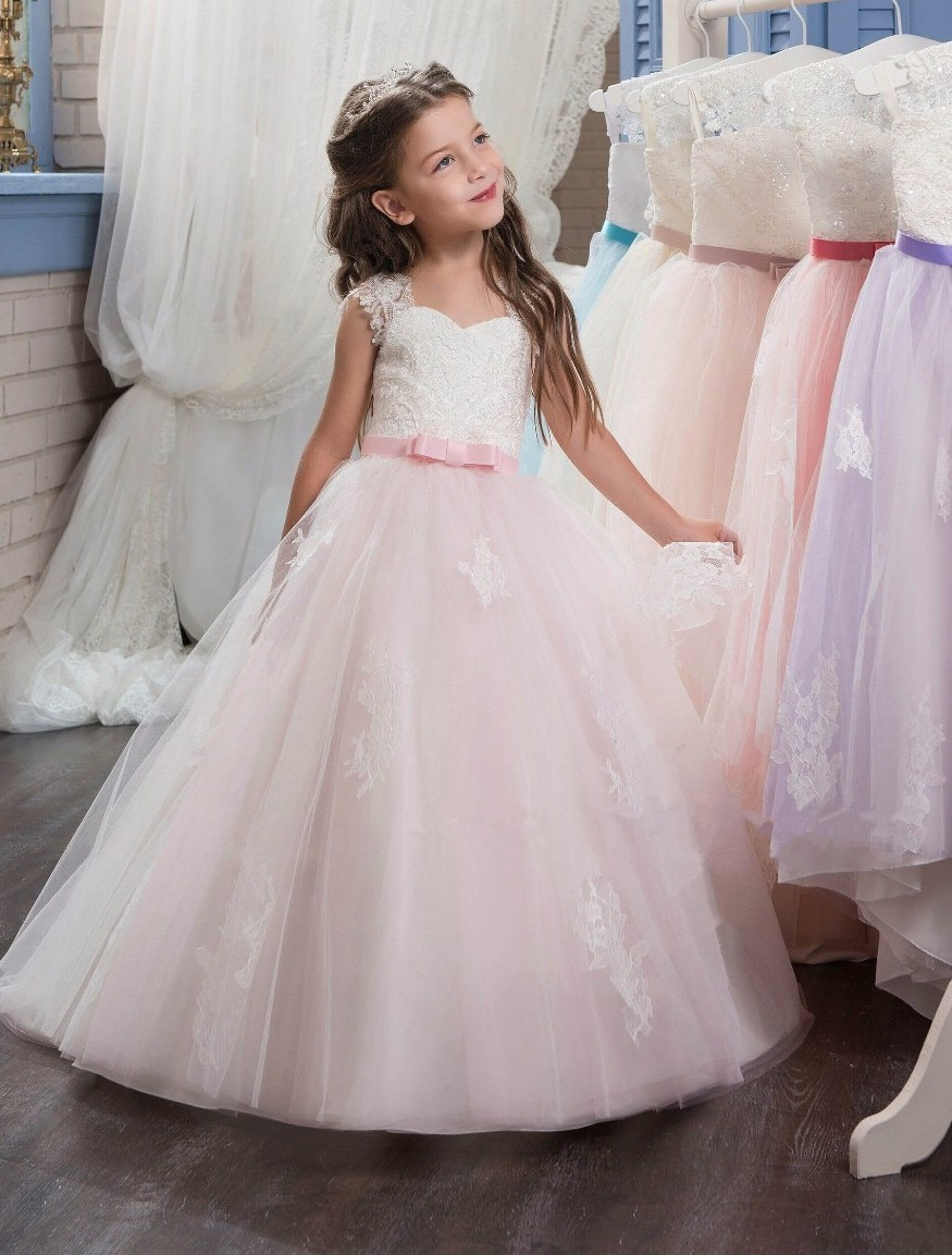 2017 Cute blush pink A-line Lace appliques Flowers Girls Dresses for Weddings First Communion Dress Pageant Dresses with bow