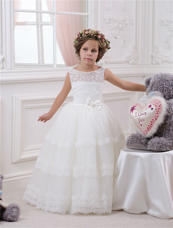 2017 Vestidos de Comunion Newest New Hot Ivory Ball Gown Lace Flower Girl Dresses First Communion Dresses For Girls Custom Made