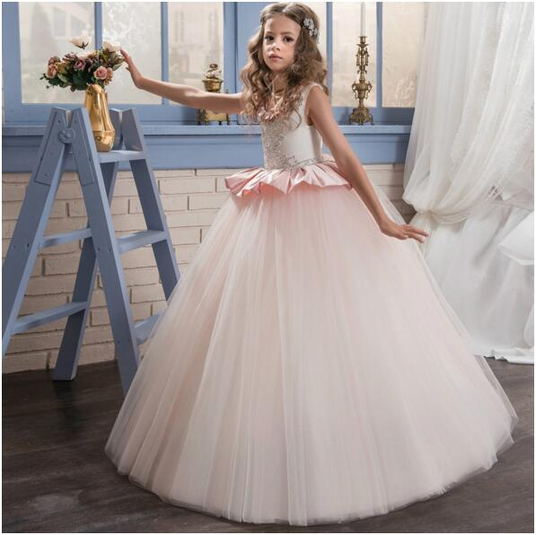 2017 High Quality Custom White Pink Puffy Flower Girl Dresses First Communion Dress Tulle Beaded Girls Birthday Pageant Gown