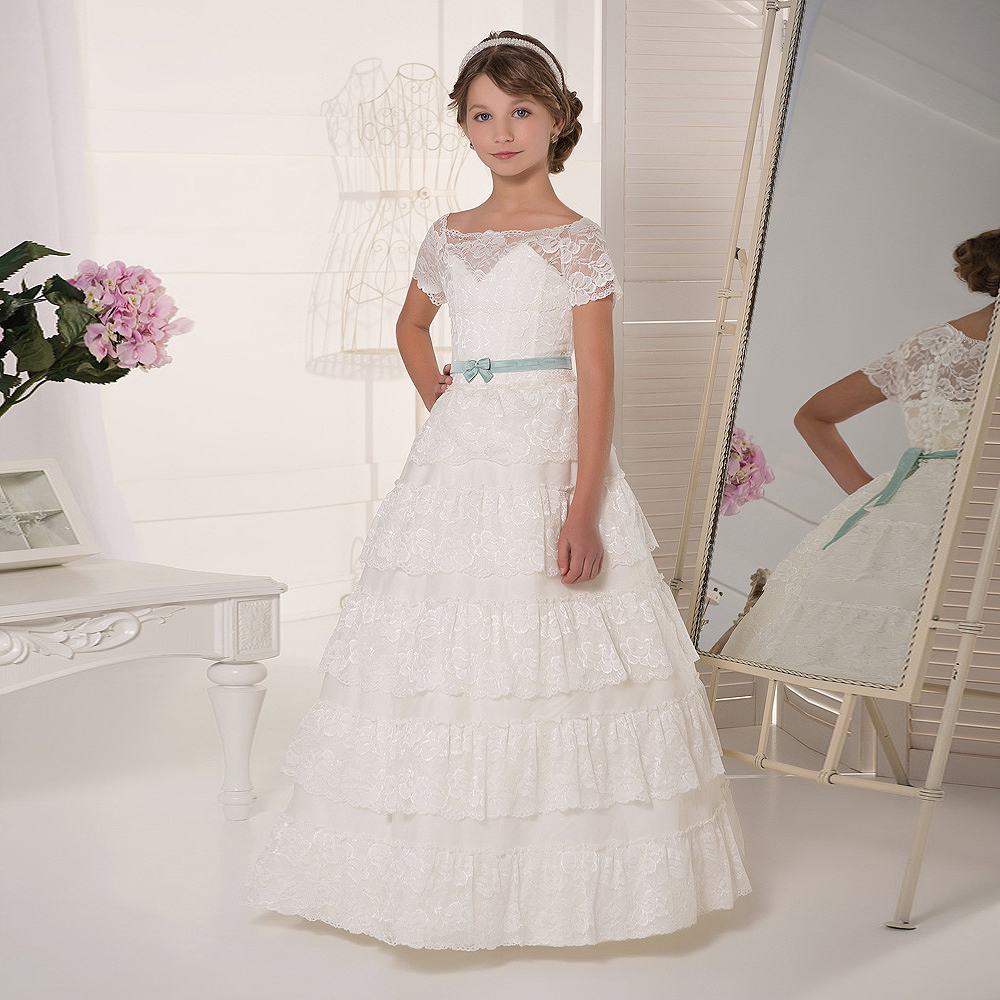 tiered Flower Girl Dress for Weddings A-line Lace Sleeveless Formal gown Pageant Gowns Vestido Daminha Casamento Hot Sale