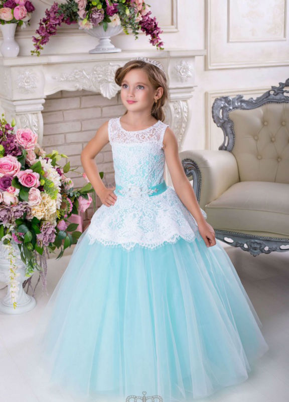 NEW Sale Sweety Girls Lace Beading Crystal Sleeveless Floor-length Ball Gown First Communion Dress Vestidos de Primera Comunion