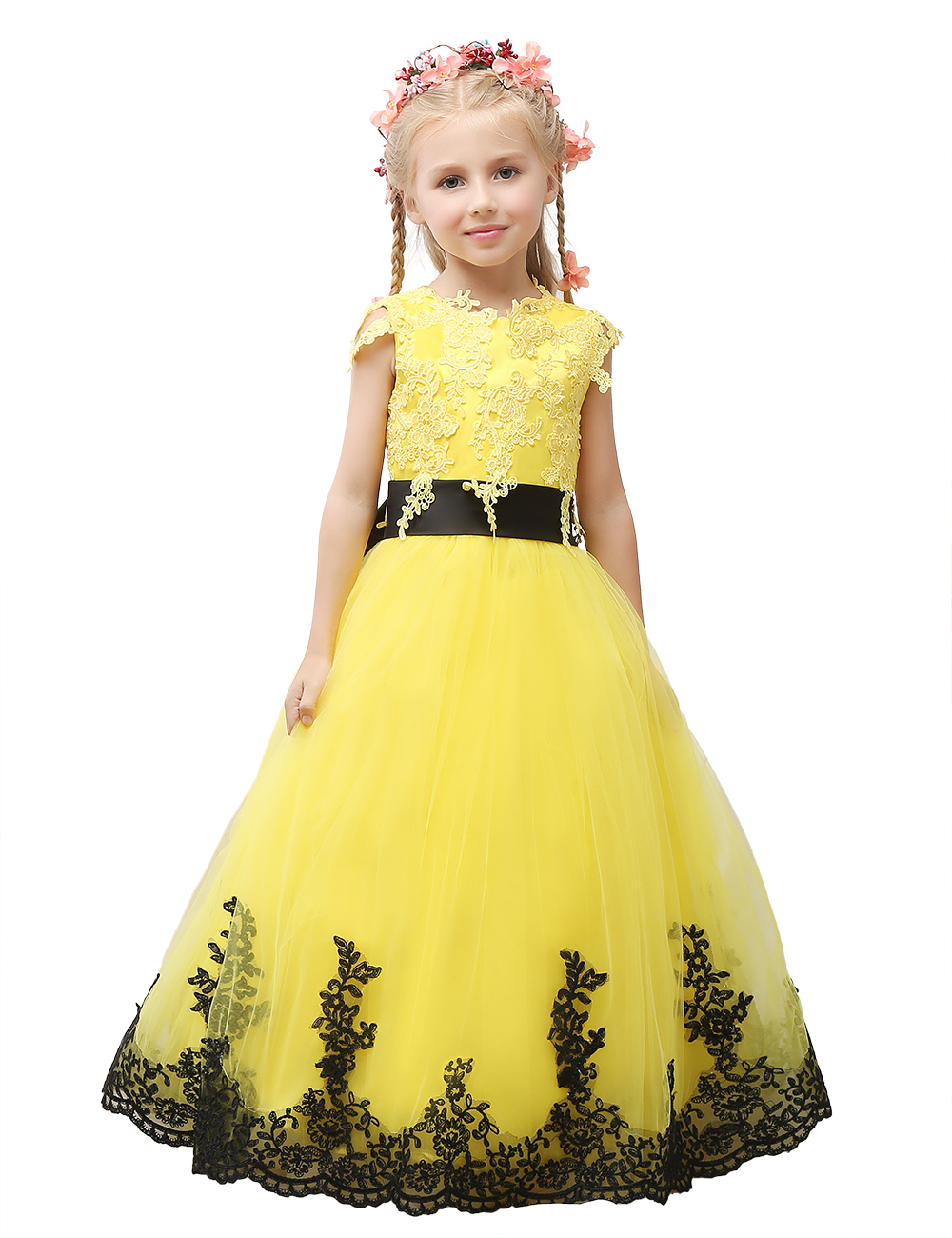 2018 Pageant Dress Little Princess Glitz Ball Gown Lace Yellow Ball