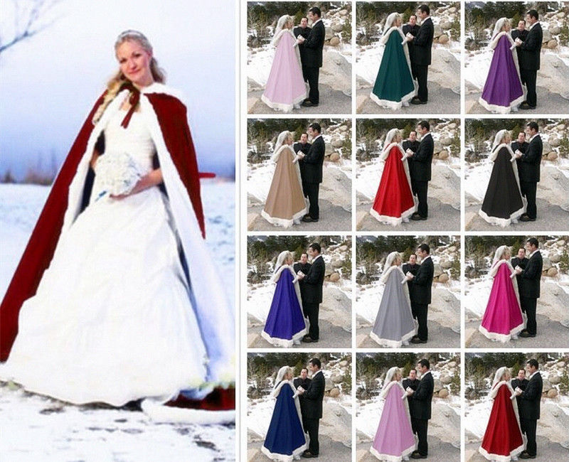 2018 Romatic Hooded Bridal Cape Ivory White Long Wedding Cloaks Faux Fur With Satin For Winter Wedding Bridal Wraps Bolero