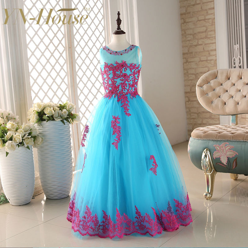 2020 New Arrival Flower Girl Dresses Little Girls KidsChild Dress with Appliques Party Pageant Communion Dress for Wedding