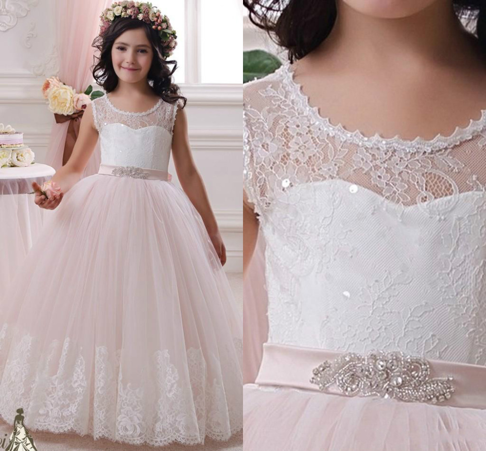 2020 Lace Flower Girl Dresses by Tulle Ball Gown Scoop first communion dresses for girls wedding Occsion prom dress children