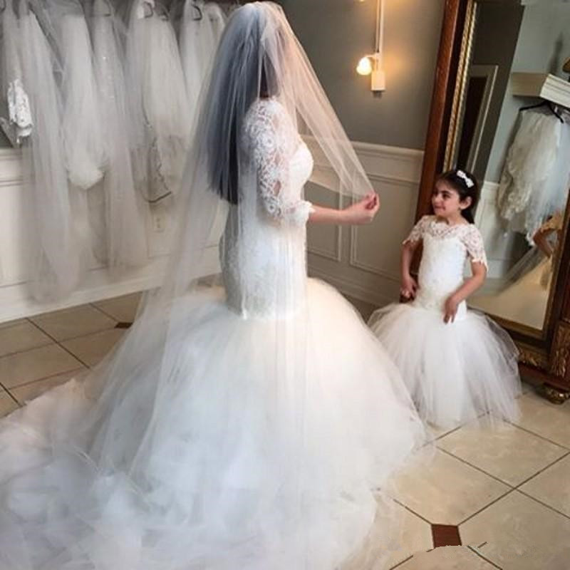 b1b5d393a4d64 2018 Romantic Tulle Lace Appliques O Neck Mermaid Puffy Bridal Flower Girl  Dresses First Communion Dresses For Girls