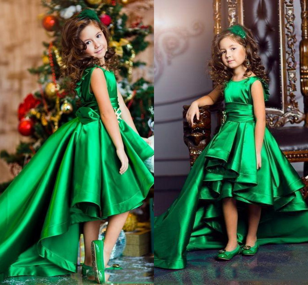 91541f75d New Arrival Emerald Green Girls Pageant Dresses High Low Princess Flower Girls  Dresses For Weddings Lovely