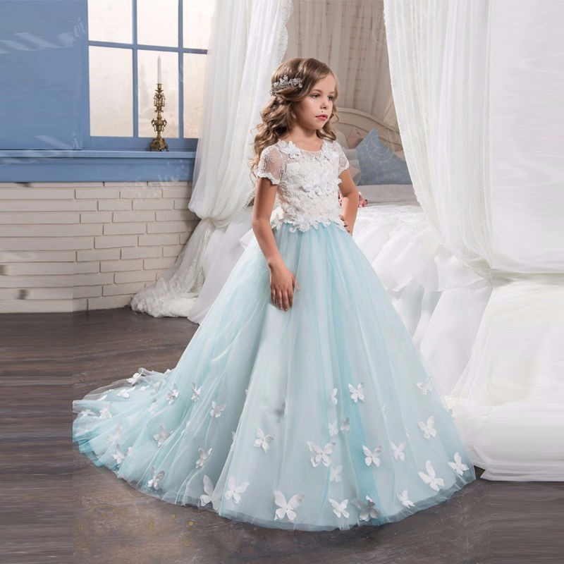 ce5e93f5f18e4 2018 Light Blue Flower Girl Dress White Lace Top Appliques Vestido De  Daminha First Communion Dress For Little Girls' Party Gown