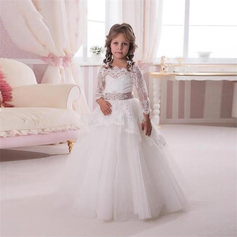 2020 3/4 Sleeve Communion Dresses For Girls Tulle Princess Lace Flower Girls Dress For Wedding Ball Gown With Belt Sashes