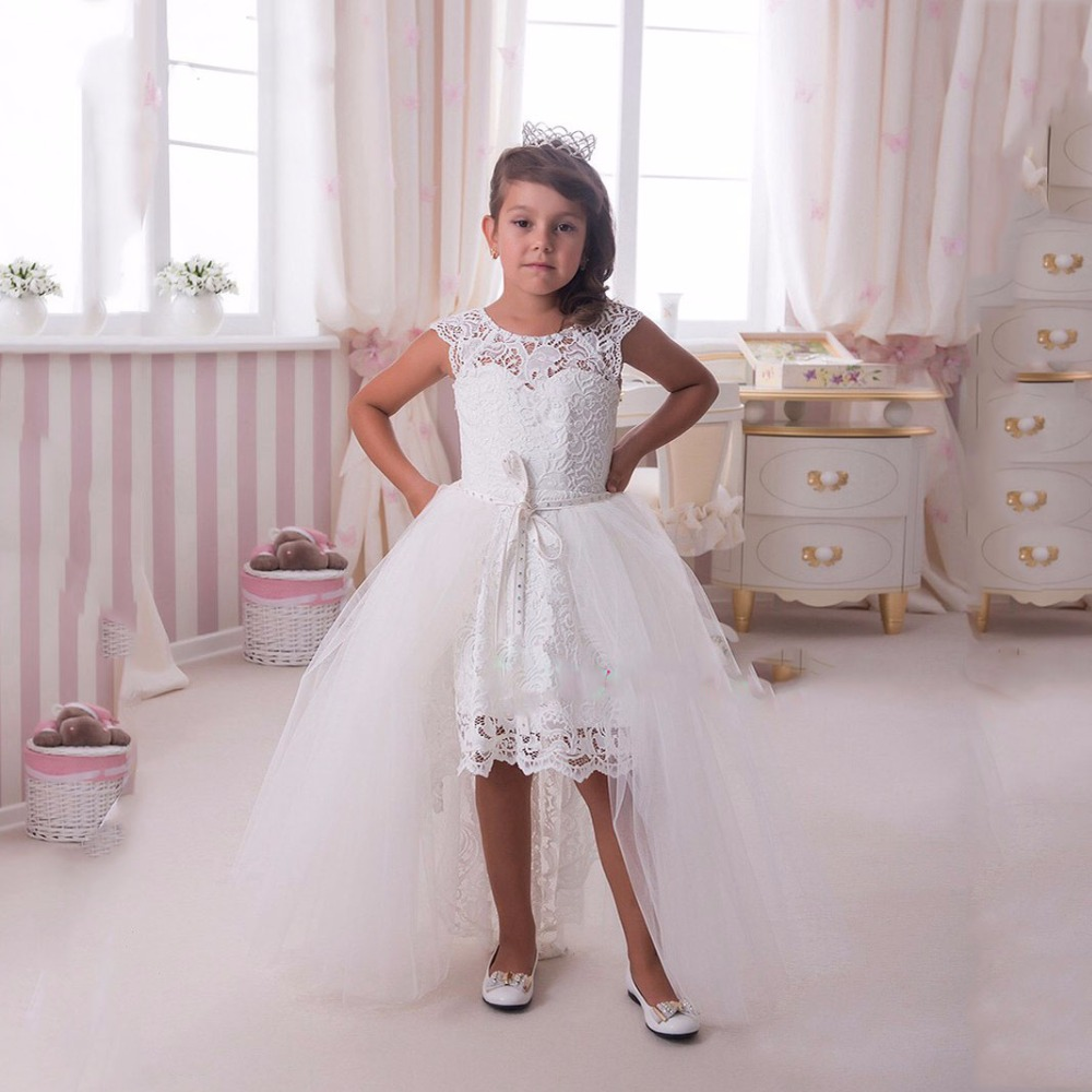 05969249048d1 White Lace First Communion Dresses For Girls With Detachable Train Elegant  Hi-Lo Flower Girl Dresses Kids Prom Dresses