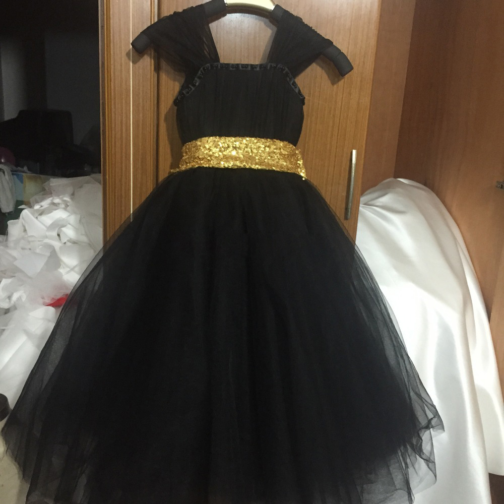f8f71d8305e1 customised tulle cap sleeve beaded long ball gown black sequin dress girls  pretty gold sequin black