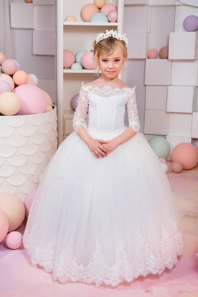 8e89a00f754 2018 New Ball Gown Flower Girls Dresses Long Sleeve Tulle White Lace First Communion  Kids Girl Pageant Dresses Party Gowns