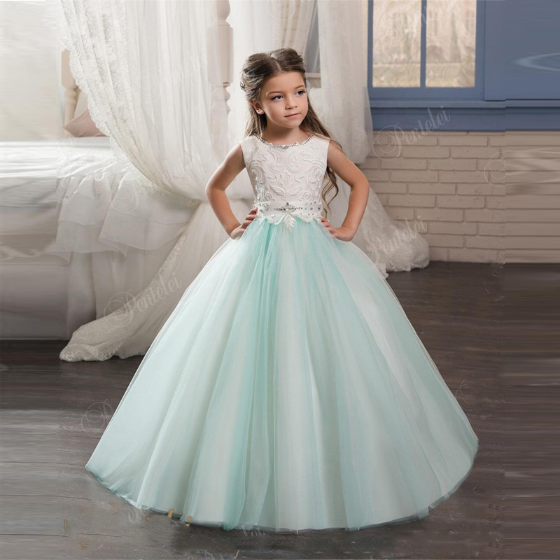 New Fashion Hot Sale Kids Evening Gowns with Scoop Neck and Lace up Back Beaded Crystals Mint Flower Girls Gowns Custom Made