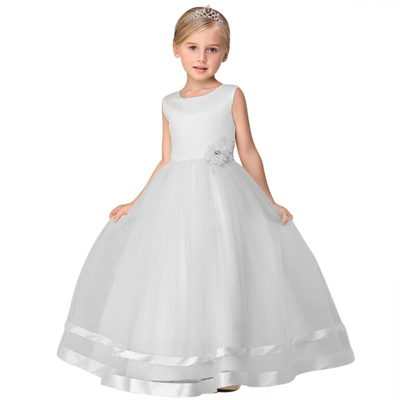 Retail High Quality Ankle-Length Flower Girls Dress With Ribbon Belt Mesh Ployster Tiered Girls Evening Prom Long Dress