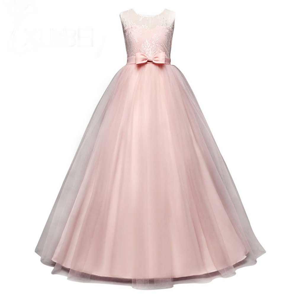 2020 Lovely Pink Lace Flower Girl Dresses Pageant Dresses For Girls With Bow Kids Evening Gowns First Communion Dresses