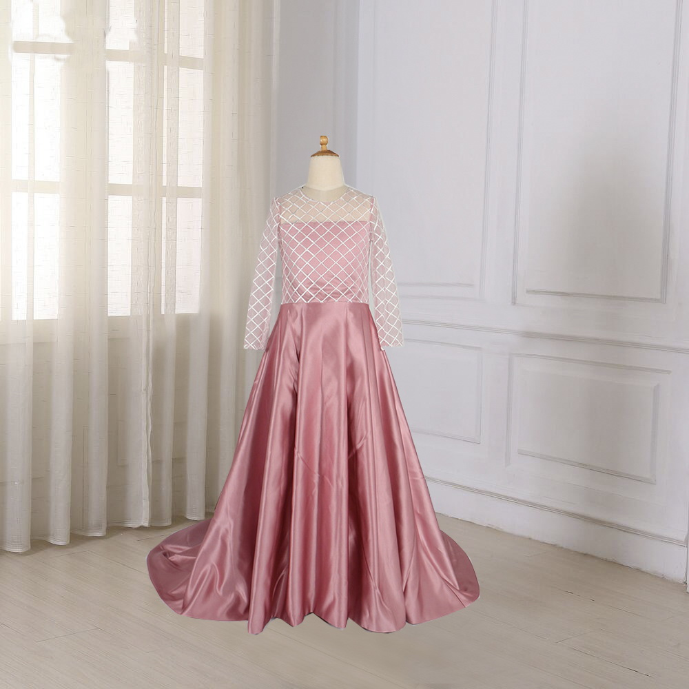 Real Photo Blush Pink Flower Girl Dress Kids Ball Gown Evening Gowns