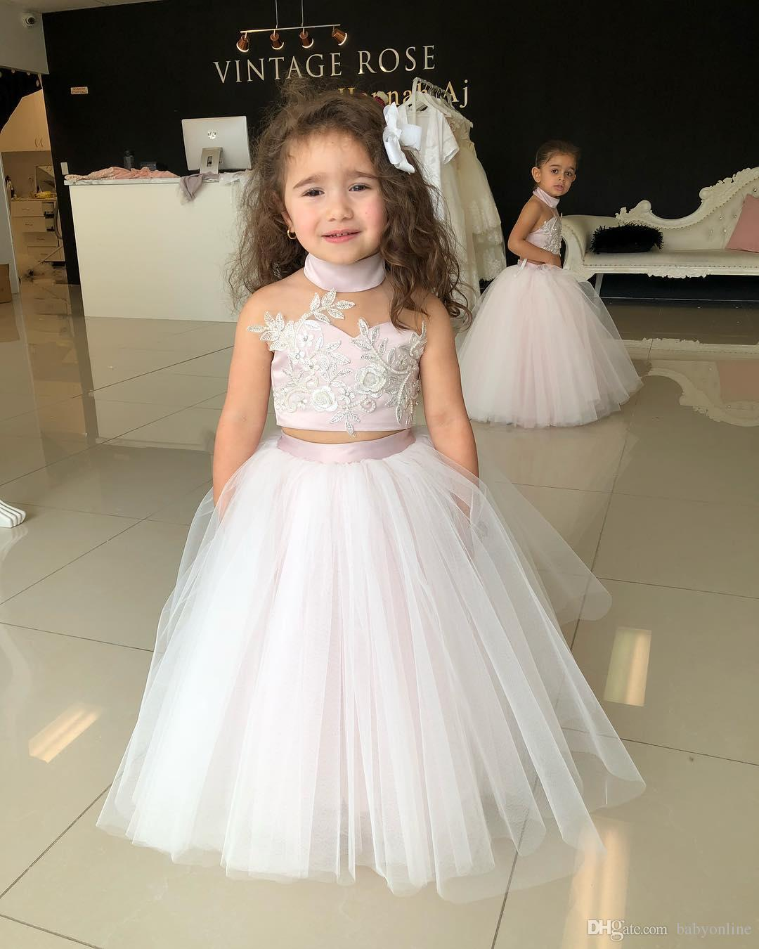 dfc60962484 2018 Lovely Kids Two Pieces Flower Girl Dresses Princess A Line Halter Neck  Backless Girls Toddler
