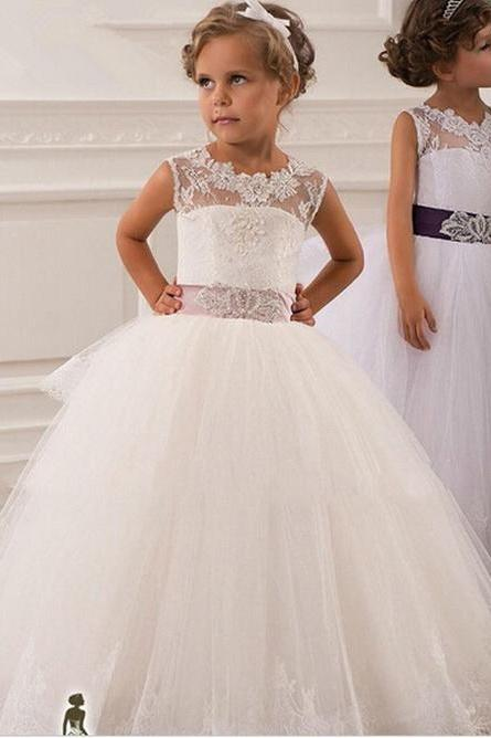 2017 Hot Real Image Ivory White Lace Flower Girls Dresses Ball Gown Belt Floor Length Girls First Communion Dress Princess Dress