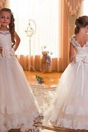 2017 New Cap Sleeve Backless Ivory Lace Flower Girl Dresses For Weddings Bow Floor Length First Communion Dresses For Girls