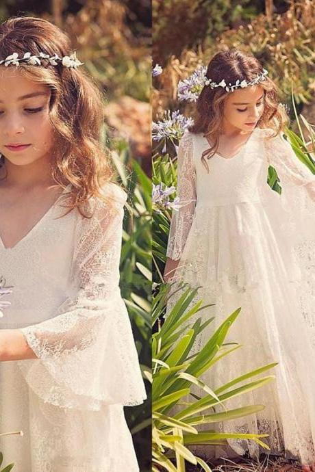 2017 New White Lace Princess First Communion Dresses for Girls Sheer Long Sleeves Boho Flower Girl Dress for Beach Pageant Dress