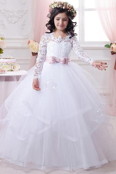 New Arrival Elegant Pageant Dresses for Juniors White Bow Sash O-Neck Long Sleeves Solid Ball Gown Girls Communion Dresses