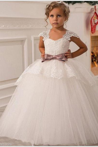 2017 Flower Girl Dresses For Weddings Ball Gown V-neck Tulle Appliques Lace Bow First Communion Dresses For Girls
