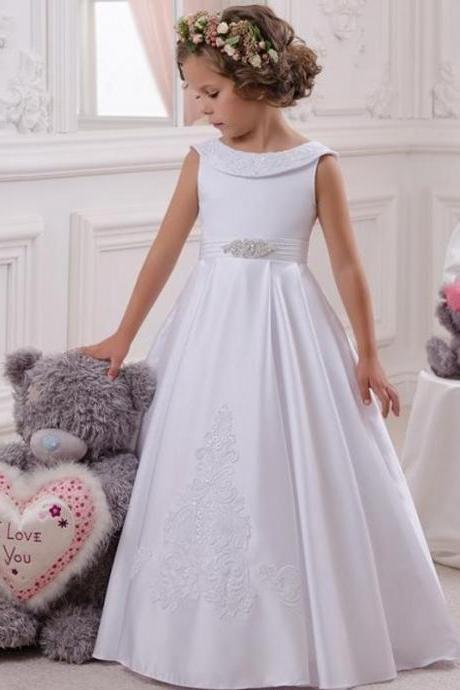 2017 Cheap White Flower Girls Dresses For Wedding Holy First Communion Dress For Girls Appliques Layout Vestido de Girls Soirre