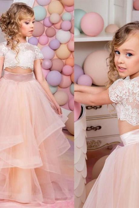 2017 Vestidos Primera Comunion Two Piece Ball Gown Flower Girl Dress Lace Toddler Glitz Pageant Dresses Pretty Kids Prom Gown