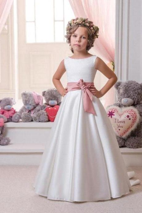 2017 Tank Sleeveless Sweep Train First Communion Dresses For Girls WhiteIvory A-line Satin Flower Girl Dresses For Weddings
