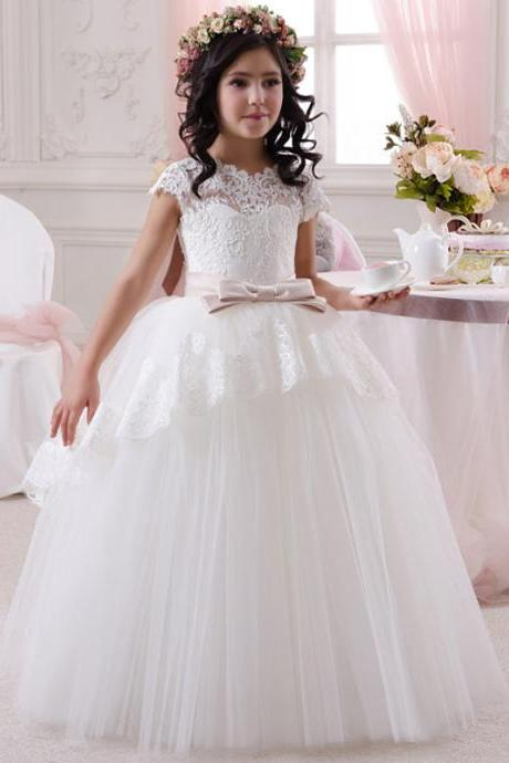 2017 Hot Sale Ivory White Lace Flower Girl Dresses Pageant Dresses With Belt Elegant Party First Communion Dresses For Girls
