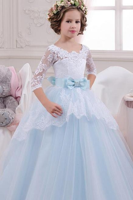 2017 Sheer Half Sleeve Sexy Lace Appliques Belt Bow Lovely Princess Ball Gown Flower Girl Dresses For Weddings First Communion