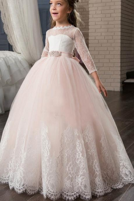 Cute blush pink tulle flower girl dresses scoop long sleeve lace bow sashes appliques sheer back kid prom dress for wedding