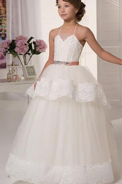Cheap Lace Flower Girl Dresses For Weddings 2017 Halter White Ivory Beaded Sash Floor Length First Communion Dresses For Girls