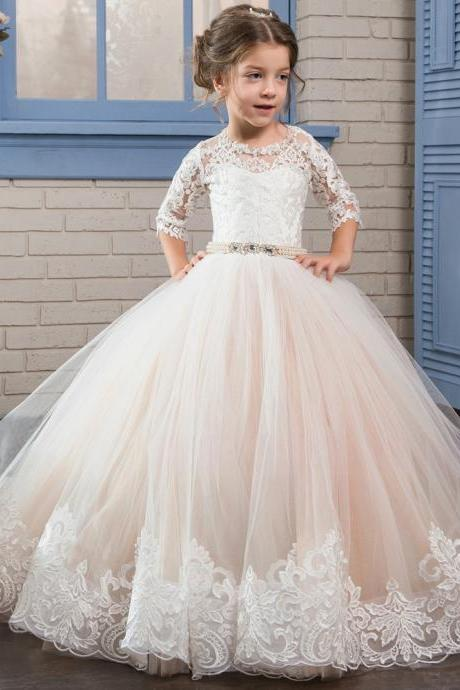 2017 Puffy Kids Prom Graduation Holy Communion Dresses Half Sleeves Long Pageant Ball Gown Dresses For Little Girls Glitz