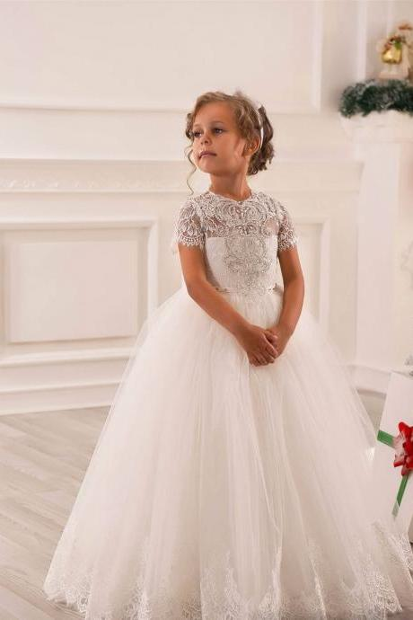 2017 WhiteIvory short sleeve sheer Lace Beading communion Flower Girl Dress for Birthday wedding occasion toddler Ball Gown