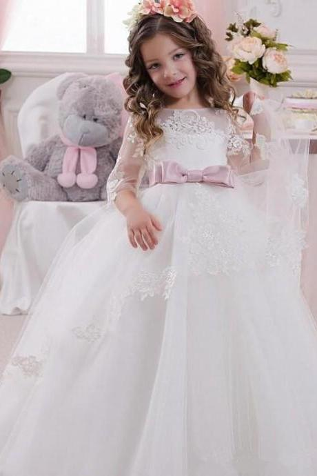 Cute Ball Gown Flower Girls Dresses For Weddings With Sheer Neck 34 Sleeves Bowknot Cheap White Ivory Child Communion Dress