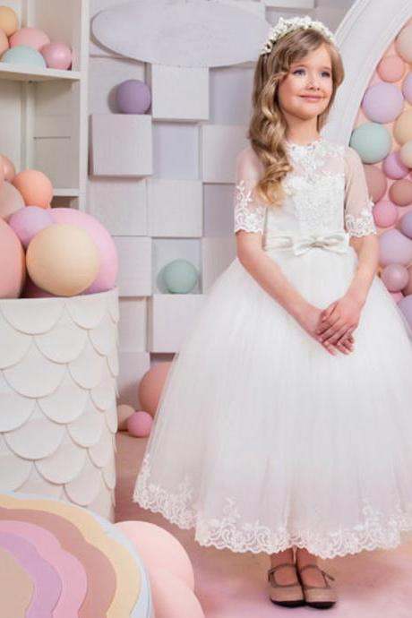 2017 Hot Selling White Flower Girl Dress Mesh Party Wedding Princess Summer Girls Dresses Bow Children Clothes 2-14 Years